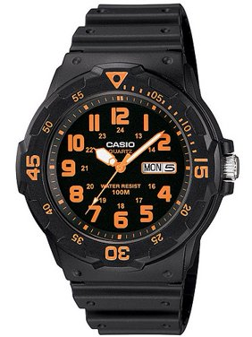 Men's Sport Analog Orange-Accented Dive Watch