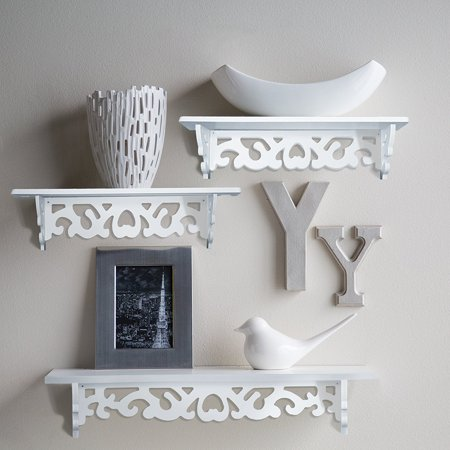 Floating Wall Shelves White Wall Mounted Shelves Display Stand Racks