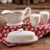 The Pioneer Woman Farmhouse Lace Butter Dish with Gravy Boat and Salt & Pepper Shakers