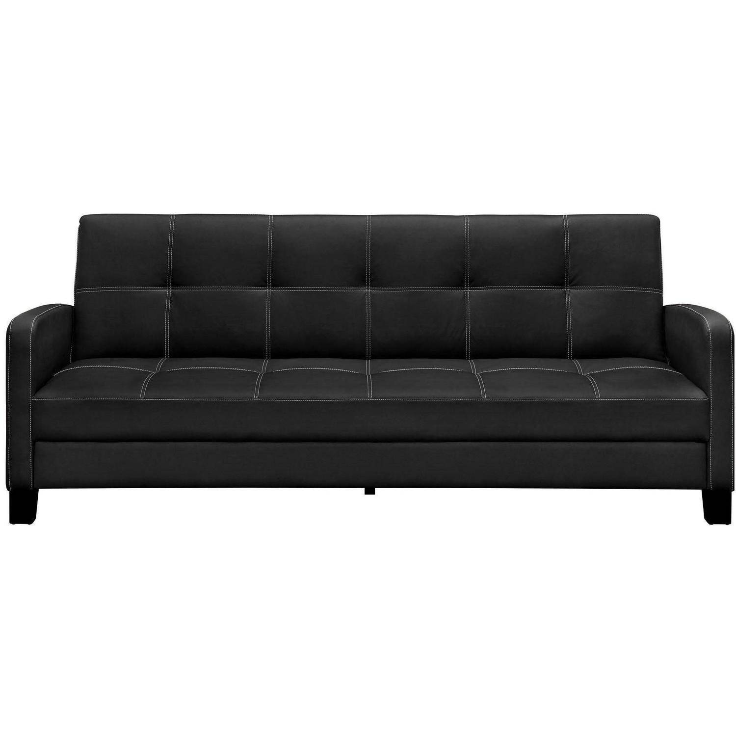 Black leather couch Rug Dhp Delaney Futon Couch Sofa Sleeper Multiple Colors Walmart Black Leather Couches Walmartcom