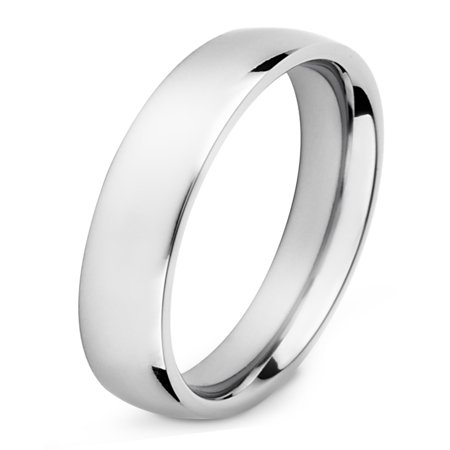 High Polished Finish Titanium Domed Band Ring (4mm Wide) (4 Mm Wide Ring)