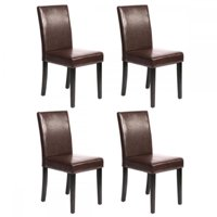 Set of 4 Brown Leather Contemporary Elegant Design Dining Chairs Home Room U42