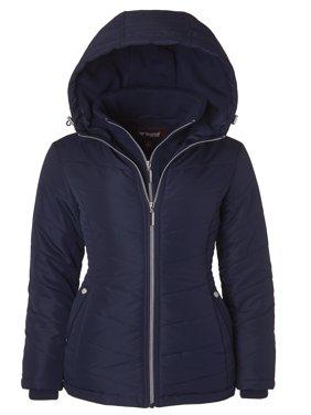 Product Image Sportoli Women\u0027s Down Alternative Quilted Midlength Vestee Puffer Jacket with Fleece Hood - Stormy Night ( Womens Coats \u0026 Jackets Walmart.com