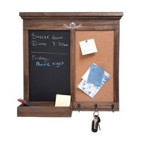 Chalkboard And Memo Board with Hooks and Storage, Rustic Natural Wood