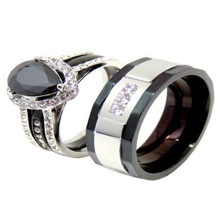 His Hers Couples Ring Set Womens Black Pear CZ Promise Ring Mens 3 CZ Two Tone Wedding Band- Size