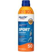Equate Sport Continuous Sunscreen Spray, Broad Spectrum, SPF 50, 10 Oz