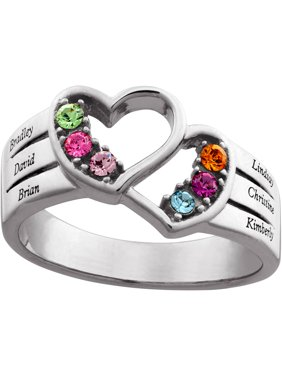 Family Jewelry Personalized Mother's Sterling Silver Family Name & Birthstone Double Heart Ring