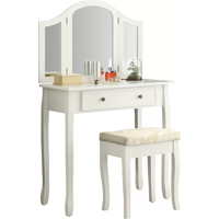 Roundhill Furniture Sunny White Wooden Vanity, Make Up Table and Stool Set