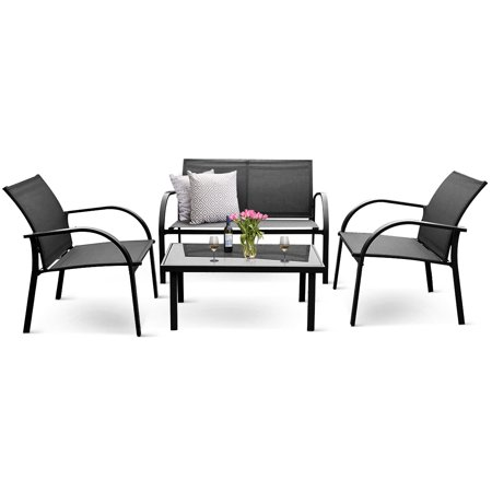 Costway 4PCS Patio Garden Furniture Set Steel Frame Outdoor Lawn Sofa Chairs Table Gray (Stainless Steel Garden Furniture)
