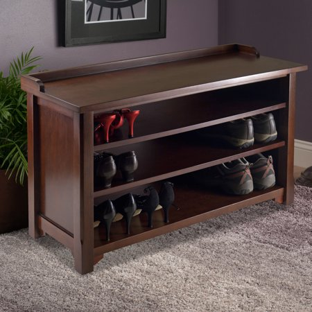 Winsome Dayton Entryway Shoe Storage Bench, Walnut