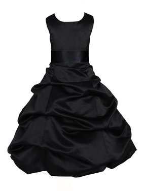 Ekidsbridal Formal Satin Black Flower Girl Dress Wedding Pageant Toddler Recital Easter Holiday Communion Birthday Girls Baptism Special Occasions Formal Events Junior Bridesmaid 806s