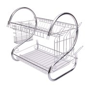 Zimtown Kitchen Dish Cup Drying Rack Bowl Rack Holder Sink Drainer 2-Tier Dryer