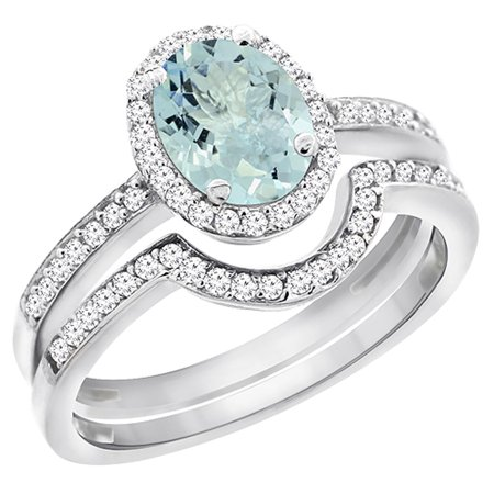 8x6 Oval Ring - 14K White Gold Diamond Natural Aquamarine 2-Pc. Engagement Ring Set Oval 8x6 mm, size 5