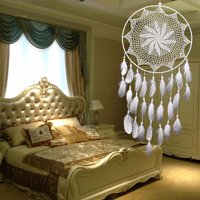 Large 33.5'' Length Handmade Dream Catcher with White Feathers Car Wall Hanging Decor Ornament