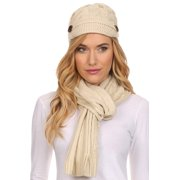 8d1a76fd07ab0 Sakkas Womens 2-piece Cable Knitted Visor Beanie Scarf and Hat Set with  Button -