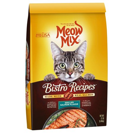 Meow Mix Bistro Recipes Grilled Salmon Flavor Dry Cat Food, 12-Pound