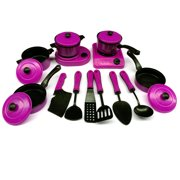 Outgeek 13Pcs Cookware Toy Set Simulated Educational Plastic Pretend Play Cooking Kitchen Birthday Gift