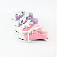 "2 Pair Low Top Sneakers Lavender & Light pink  - Fits 18"" American Girl Dolls, Madame Alexander, Our Generation, etc. - 18 Inch Doll Clothes - Doll Not Included"