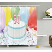 50th Birthday Decorations Shower Curtain White Sweet Cake On Table With Colorful Balloons Confetti Party