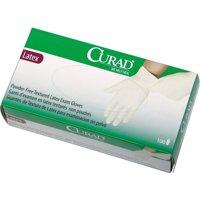 Curad, MIICUR8104, Powder Free Latex Exam Gloves, 100 / Box, White