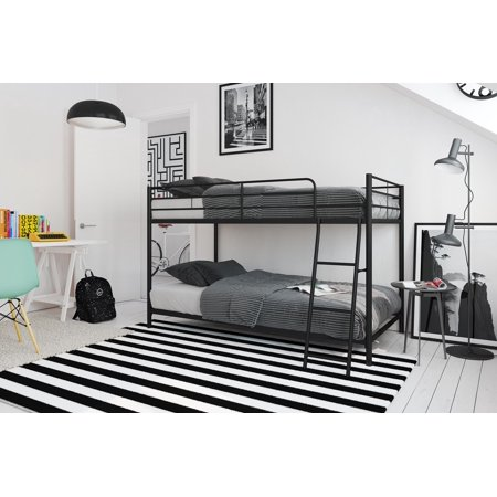 Mainstays Small Space Twin Over Twin Bunk Bed Black Metal Walmart Com