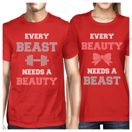 Every Beast Beauty Matching Couple Gift Shirts Red Cute