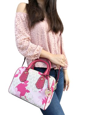 NWT Michael Kors Aria Small Top Zip Satchel Crossbody Vanilla MK Pink Floral