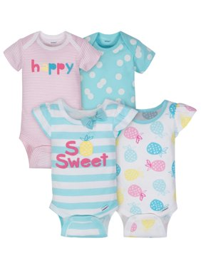 Short Sleeve Onesies Bodysuits, 4pk (Baby Girls)