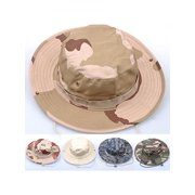 Unisex Woodland Fishing Hiking Travel Military Sun-proof Camo Boonie Hat Cap aae4b3835b9f