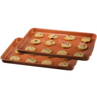 """Gotham Steel Nonstick Copper Cookie Sheet and Jelly Roll Baking Pan 12"""" x 17"""" – 2 PACK"""