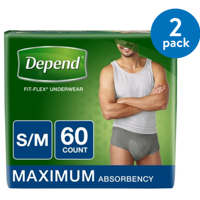 (2 Pack) Depend FIT-FLEX Incontinence Underwear for Men, Maximum Absorbency, S/M (Choose Your Count)
