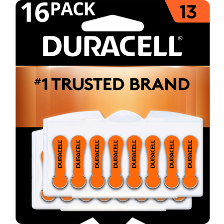 Duracell Hearing Aid Batteries with Easy-Fit Tab Size 13 16 Pack ()