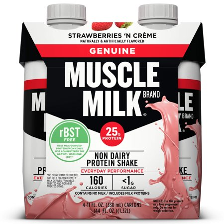 - (3 Pack) Muscle Milk Genuine Non-Dairy Protein Shake, Strawberries 'N Crème, 25g Protein, 11 Fl Oz, 4 Ct