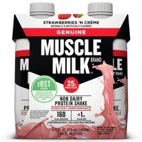 (3 Pack) Muscle Milk Genuine Non-Dairy Protein Shake, Strawberries 'N Crème, 25g Protein, 11 Fl Oz, 4 Ct