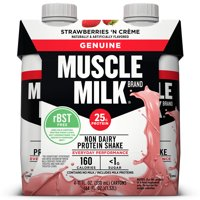 (3 Pack) Muscle Milk Genuine Non-Dairy Protein Shake, Strawberries 'N Crème, 25g Protein, 11 Fl Oz, 4 Ct