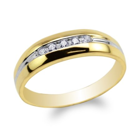 Mens 10K Yellow Gold Two Tone Lines Round CZ Embedded Wedding Band Ring Size -