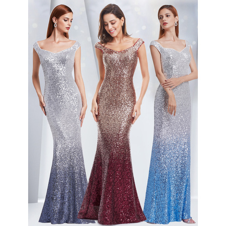 Ever-Pretty Womens Sequins Off Shoulder Mermaid Long Wedding Party Mother of the Bride Dresses for Women 08999 Grey US 4