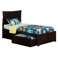 Metro Twin XL Platform Bed with Flat Panel Foot Board and 2 Urban Bed Drawers in Espresso
