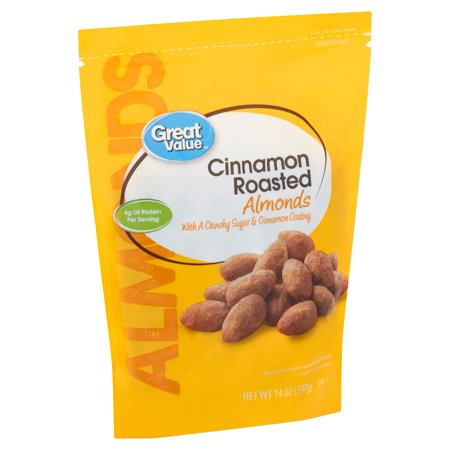 Great Value Cinnamon Roasted Almonds, 14 Oz. Almonds 16 Oz Jar