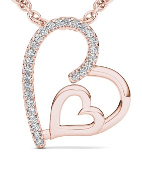 Imperial 1/10Ct TDW Diamond 10K Rose Gold Heart Necklace