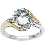 Sterling Silver with 10kt Yellow Gold Oval Aquamarine and Diamond Accent Ring