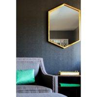 """Coaster Company Versatile Hexagon Design 34""""x24"""" Mirror, Gold Frame"""