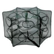 6/12 Holes Automatic Fishing Net Shrimp Cage Nylon Foldable Crab Fish Trap Cast ,