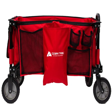 260 Wagon - Ozark Trail Quad Folding Wagon with Telescoping Handle, Red