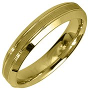 14K Yellow Gold Mens Wedding Band 4mm Satin Comfort Fit