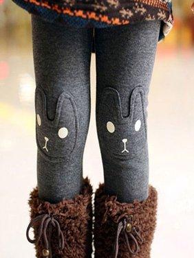 Kacakid Toddler Child Cozy Animal Printed Leggings Girls Pants Baby Fleece Trousers 2-7Y