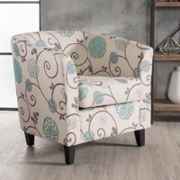 Noble House Pierson Floral Fabric Club Accent Chair, White and Blue