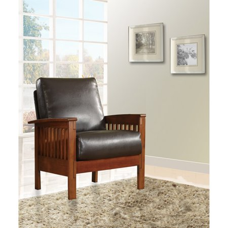 Dark Brown Leather Chair (Mission Oak Faux Leather Chair, Dark)