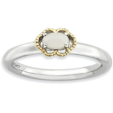 White Agate Sterling Silver and 14kt Gold Polished Ring ()