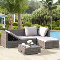Costway 3PCS Rattan Wicker Sofa Furniture Set Steel Frame Adjustable Seat Patio Garden